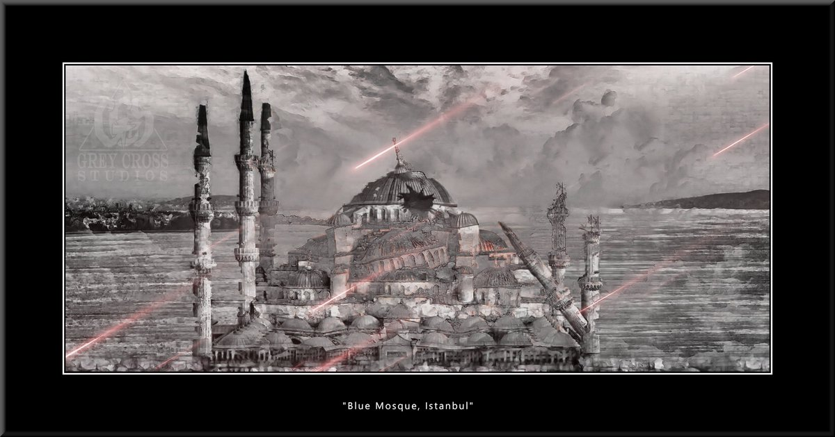 Blue Mosque, Istanbul   There Is No Saving a World Which is Bent on Destroying Itself Grey Cross Studios #art #climatechange #climatechangeisreal #climateaction #ClimateChangeart #extremeweather #climatechangeaction #dystopia