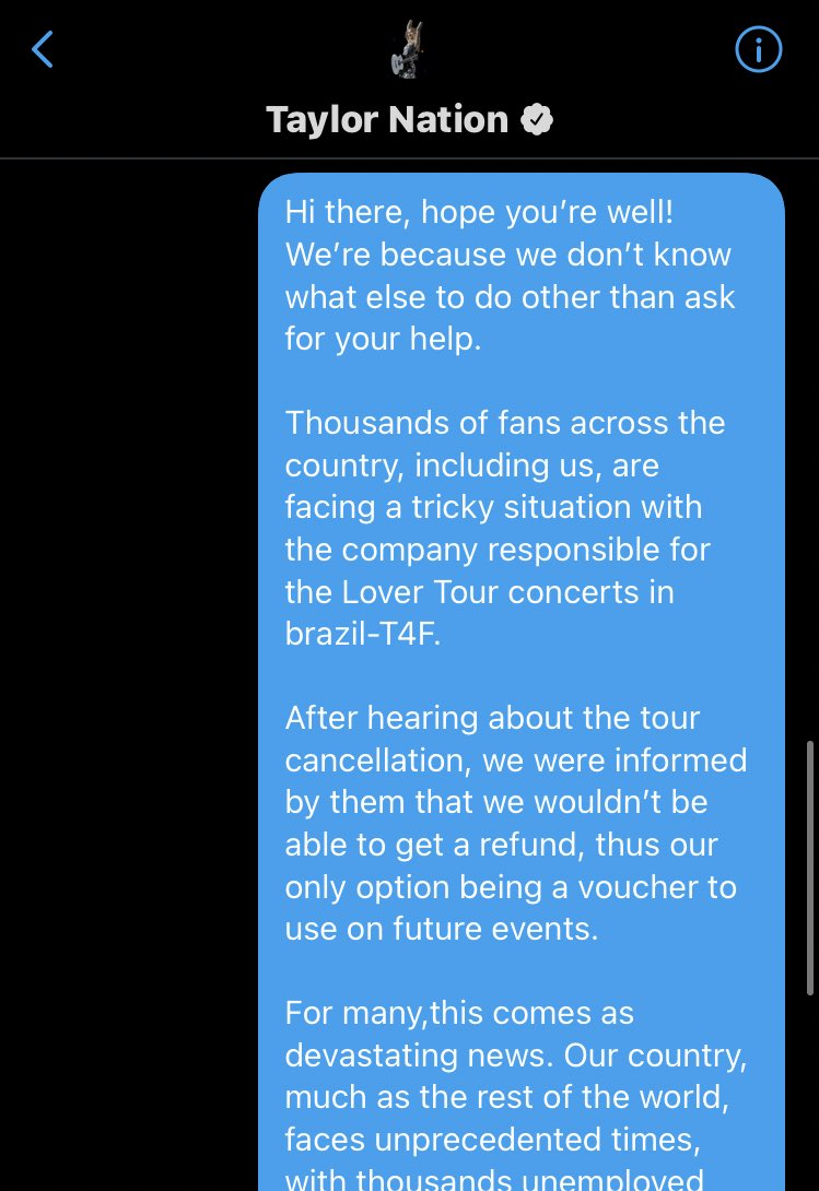 Hi @treepaine PLEASE HELP US. Brazilian swifties are only being offered credits rather than refunds for @taylorswift13's concert. Can you help us get our money back? @taylornation13 #BRSwiftiesWantRefund #refund #taylorswift #treepaine