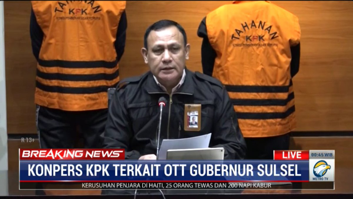 #BreakingNewsMetroTV Gubernur Sulawesi Selatan (Sulsel) Nurdin Abdullah (NA) menjadi tersangka Komisi Pemberantasan Korupsi (KPK).