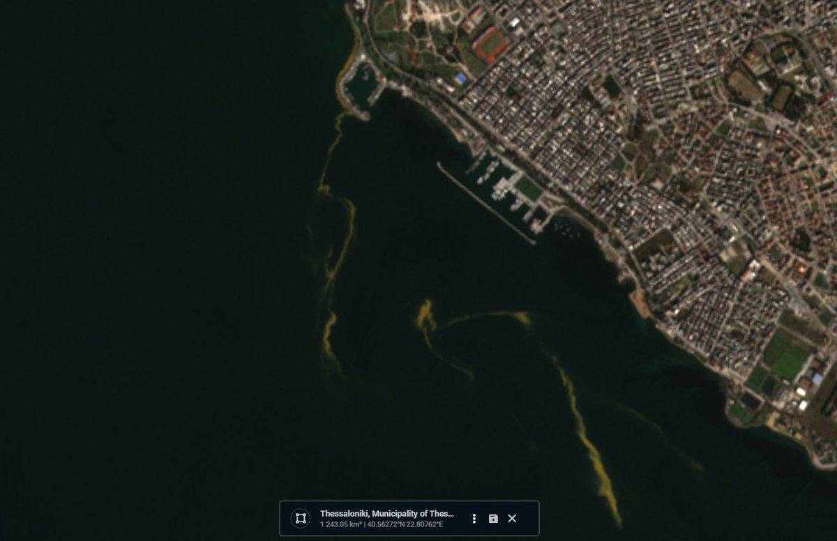 Δορυφορικές που φαίνεται η ερυθρά παλίρροια έξω από την θαλάσσια περιοχή της Καλαμαριάς (1η) και Ανάληψης- Ντεπώ (2η) Δορυφόρος Sentinel 2 ( 27-2-2021)