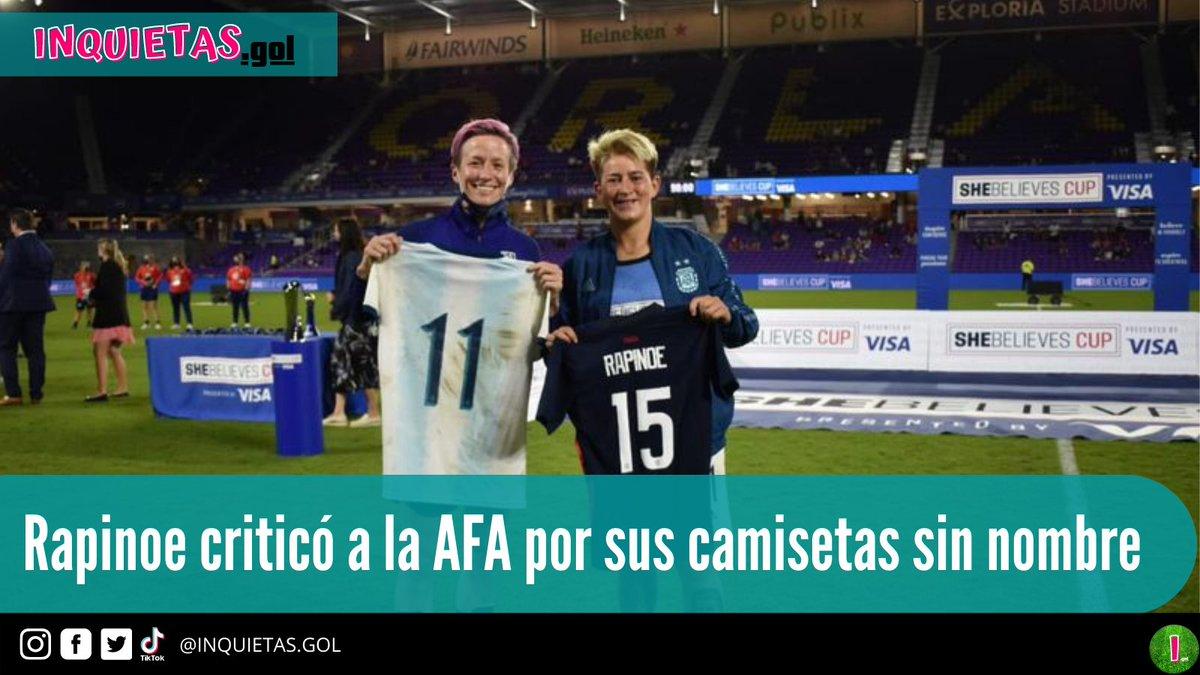 Rapinoe lanzó una petición a la AFA a favor de las jugadoras de la selección, quienes no cuentan con sus nombres grabados en sus camisetas, con una publicación que hace un guiño a que solucionen este problema.  #MeganRapinoe #USWNT #AFA #futbolfemenino #womensoccer