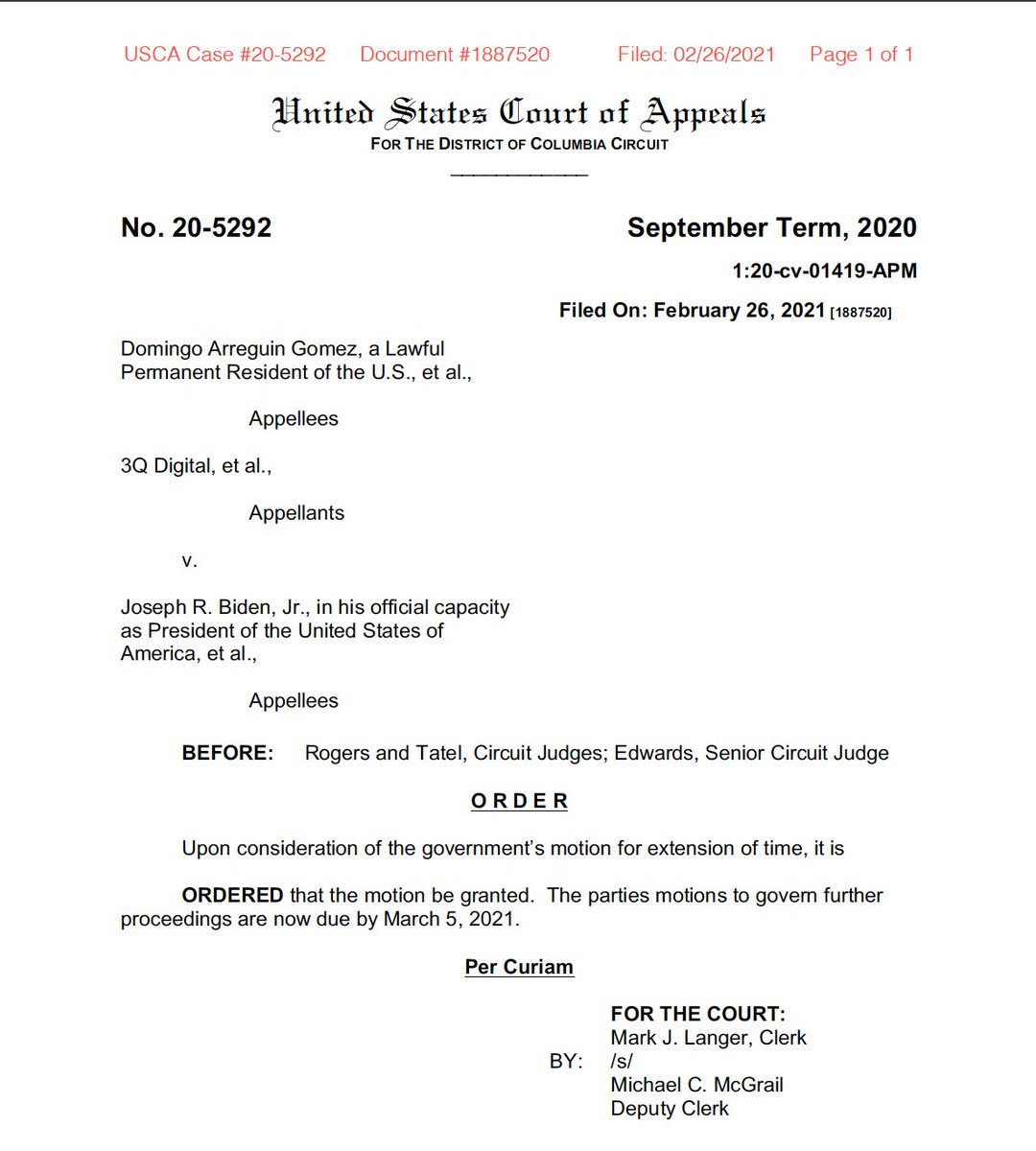 #GomezAppeal #NoBan Update: I missed this, but Circuit Court of Appeals for DC granted Biden administration's request for extension of deadline for the brief they had due yesterday. That deadline has been pushed to Mar. 5.