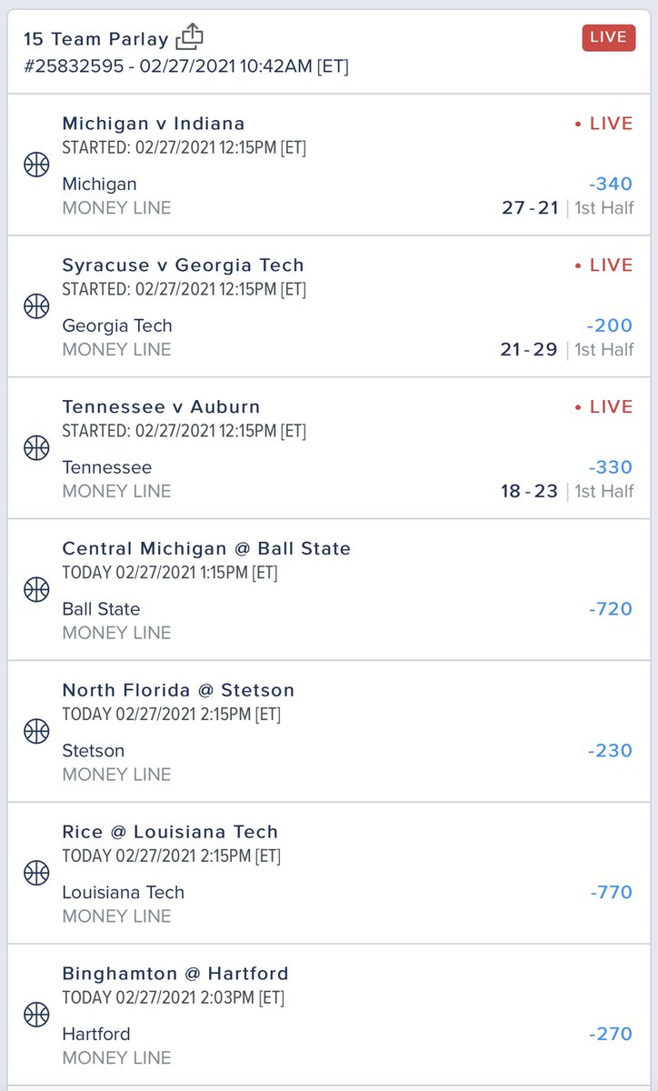 "Now that games have begun and @evanfoxy, who's on a heater right now, can't potentially mush it  I call this the ""It's gonna have to be a rather large upset to fuck this up"" parlay  Let's have a day."