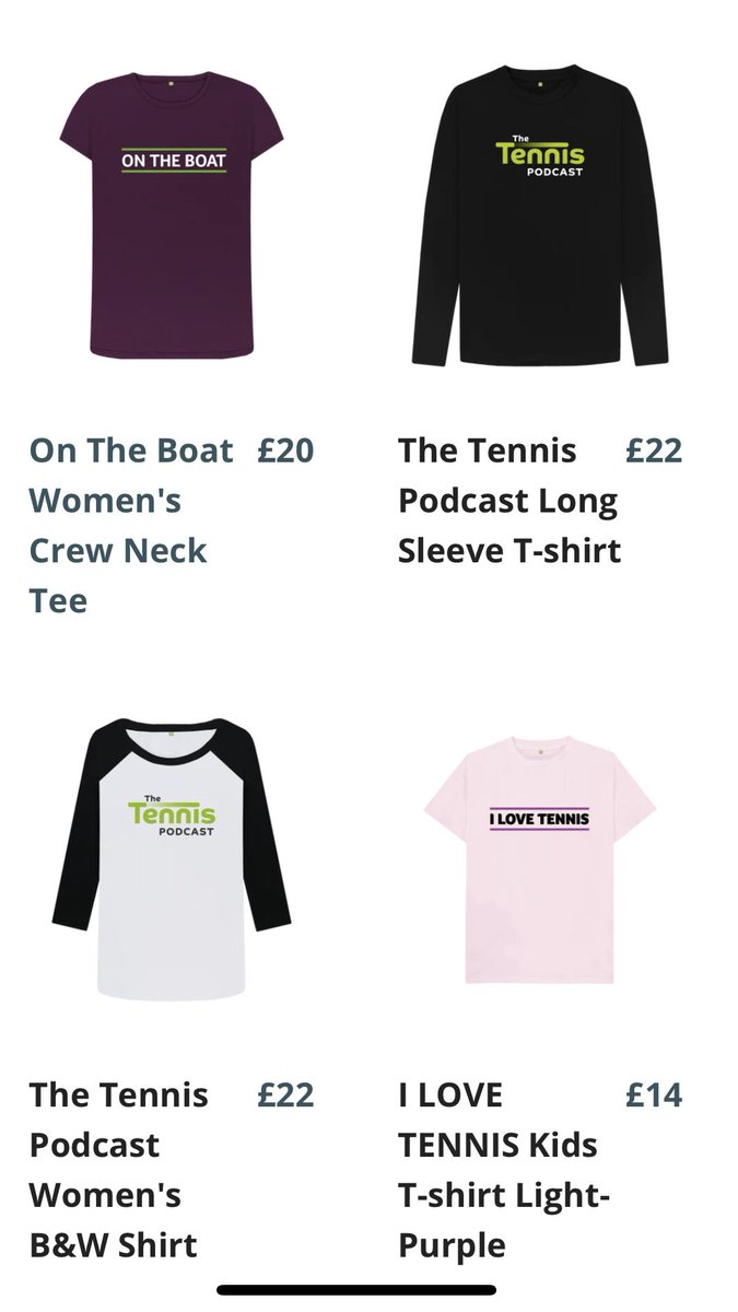 We've got free delivery in the UK in our Tennis Podcast shop this weekend. Have a browse - thetennispodcast.teemill.com