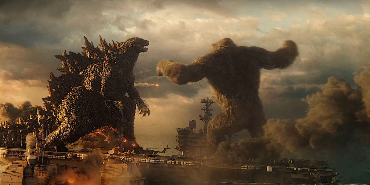 #GodzillaVsKong composer Junkie XL reveals the big fight between the Kaiju on the aircraft carrier goes on for a truly epic 18 minutes!
