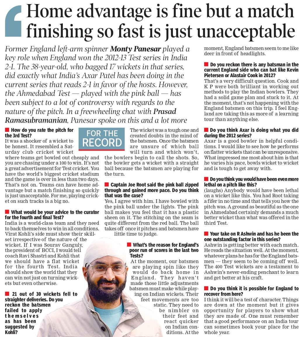 """""""Teams can have home advantage but a match finishing so quickly is just unacceptable,"""" says @MontyPanesar on the pitch for the third #INDvEND Test in Ahmedabad. If he was the BCCI president, Monty feels he would've asked for a flat track for the 4th and final Test."""