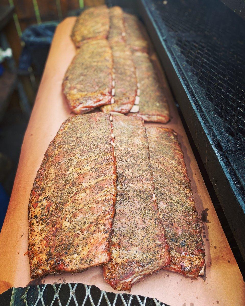 Racks on racks on racks .         #mattsbbq #bbq #pdx #ribs #pork #ear #food #love #brisket #pulledpork #smoker #smokedmeats #lunch #dinner #saturdayvibes #beerandbbq #sun #portland #foodcart