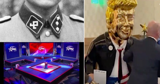 #CPAC so far: White Supremacists speak on a stage shaped like a Nazi symbol and Evangelicals worship a golden ass.    This is the Republican Party now.