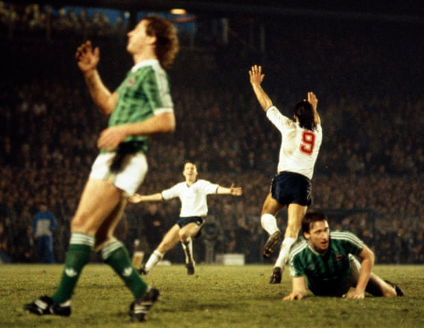 27th Feb 1985: It ended Northern Ireland 0-1 England in a #Mexico86 World Cup Qualifier, Mark Hateley with the winning goal, on this day 36 years ago.  #ThreeLions Fan Valentines Day Retro Gift Idea #Euro2020 #Qatar2022