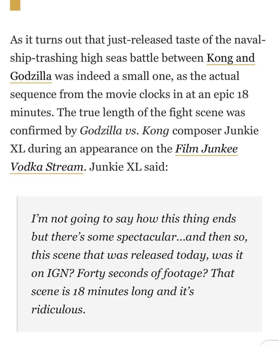 According to a recent interview from Junkie XL, the Aircraft carrier fight is going to be 18 MINUTES!!!! 😳😳😳 #GodzillavsKong