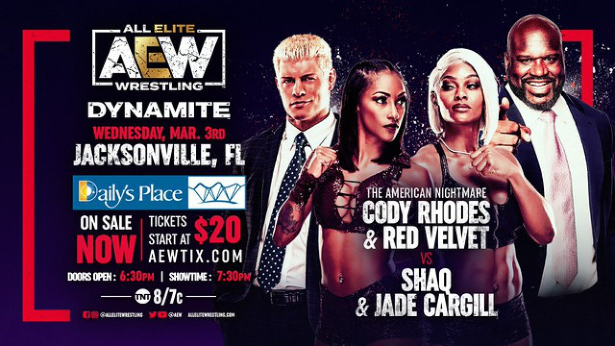 Hey I'm wrestling this Wednesday on #AEWDynamite and so is Shaq   Visit  for full event details & safety guidelines.