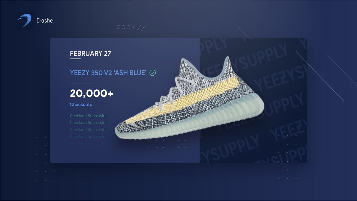 King of Yeezy Supply. 👑     20,000+ Yeezys secured by Dashe users today. 💨   Retweet & Reply '❄️' for a chance at a Dashe key! 🥳