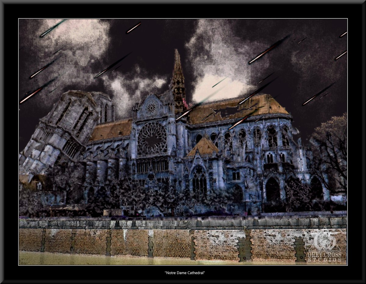 Notre Dame Cathedral, Paris   There Is No Saving a World Which is Bent on Destroying Itself Grey Cross Studios #art #climatechange #climatechangeisreal #climateaction #ClimateChangeart #extremeweather #climatechangeaction #dystopia
