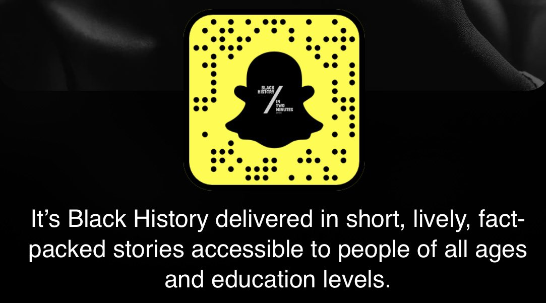 NEW! Find us in Snapchat Discover & subscribe! 👻 Save our snapcode & pass it on. ➡️ #shareBlackstories  We want to keep Black history going all year long. Black history is American history, but think bigger: Black history is World history. #BlackHistoryIsNow #BlackHistoryMonth