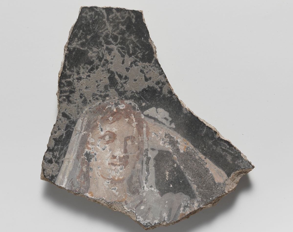 Roman wall painting fragment ~ C1st CE This fragment captures the face of a Roman woman. Her hand is raised and she looks the very picture of a certain meme! On black ground; head and raised hand of a woman