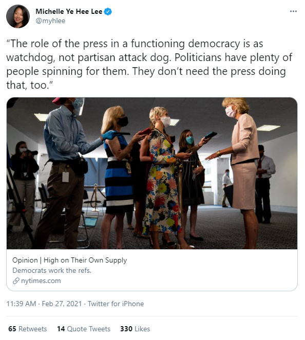 """Maureen Dowd wrote a column about how """"the left"""" needs to figure out that journalism has no party, and all the journalists who spent four years dithering around Trumpian fascism, while conducting no self-reflection about their own industry, are now sharing it with smug enthusiasm"""