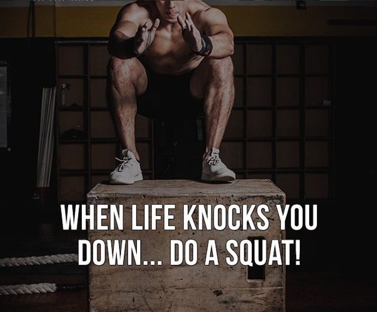 Whenever life knocks you down, whenever it questions you to give up, you need to do what the squat does and get back up! Don't ever stay down during the hard times. You're strong enough to see it through and conquer..   #Motivation #Gym #Squats #Life #DontQuit #Success #Goals