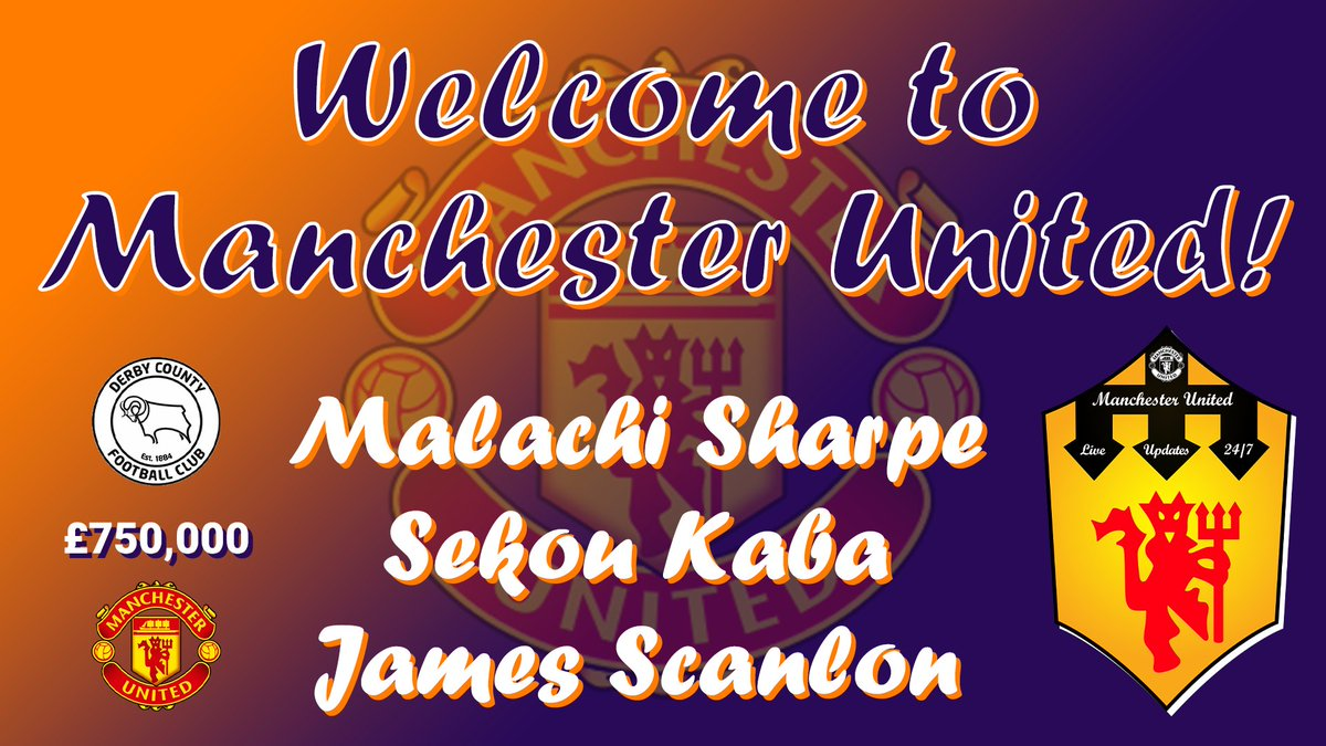 🏃 #MUAcademy  🚨 Watch the video here (Premiering @ 20:30 GMT)! 👇 ().  👉United are reportedly going to sign 3 players from Derby County. The players mentioned are: Malachi Sharpe ~ U15 Sekou Kaba ~ U14 James Scanlon ~ U14  #MUFC #dcfcfans #dcfc #GGMU 🔴
