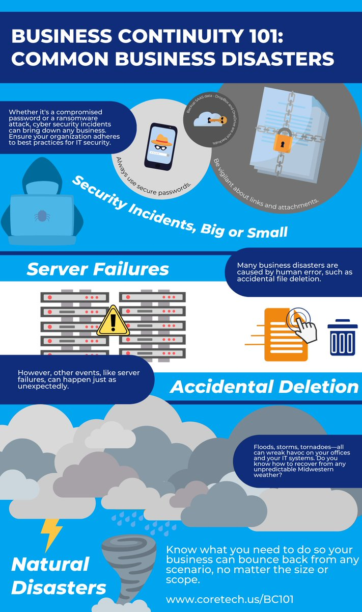 Help your business prepare for the worst.   Check out our infographic on the most common business #disasters, and then click the link to learn more about the essentials of business #continuity and disaster #recovery planning. #bcdr #bc101