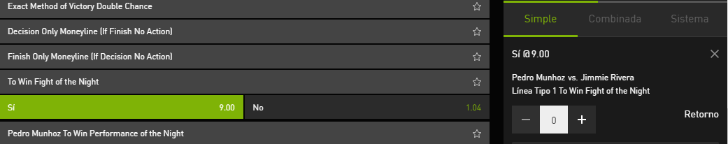 Le veo valor a esta apuesta en Bet777 también esta disponible en Bethard, con solo 9 combates creo que este puede ser el mejor si se da el premio al combate de la noche, Munhoz es un tipo que siempre va para delante y da buenas batallas y es probable que sea decisión #UFCVegas20