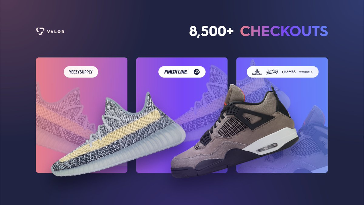 Consistency defines you. 💿   Today Valor users were able to secure thousands of pairs on Footsites, Finishline, and Yeezy Supply! ✅  Retweet & Reply #2TheMoon and we'll DM some of you a key. 📬