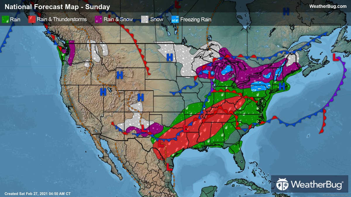 More unsettling #weather will close out the #weekend for one half of the U.S. while the other gets a chance to dry out. Find out what's on the menu in our #Sunday preview here: