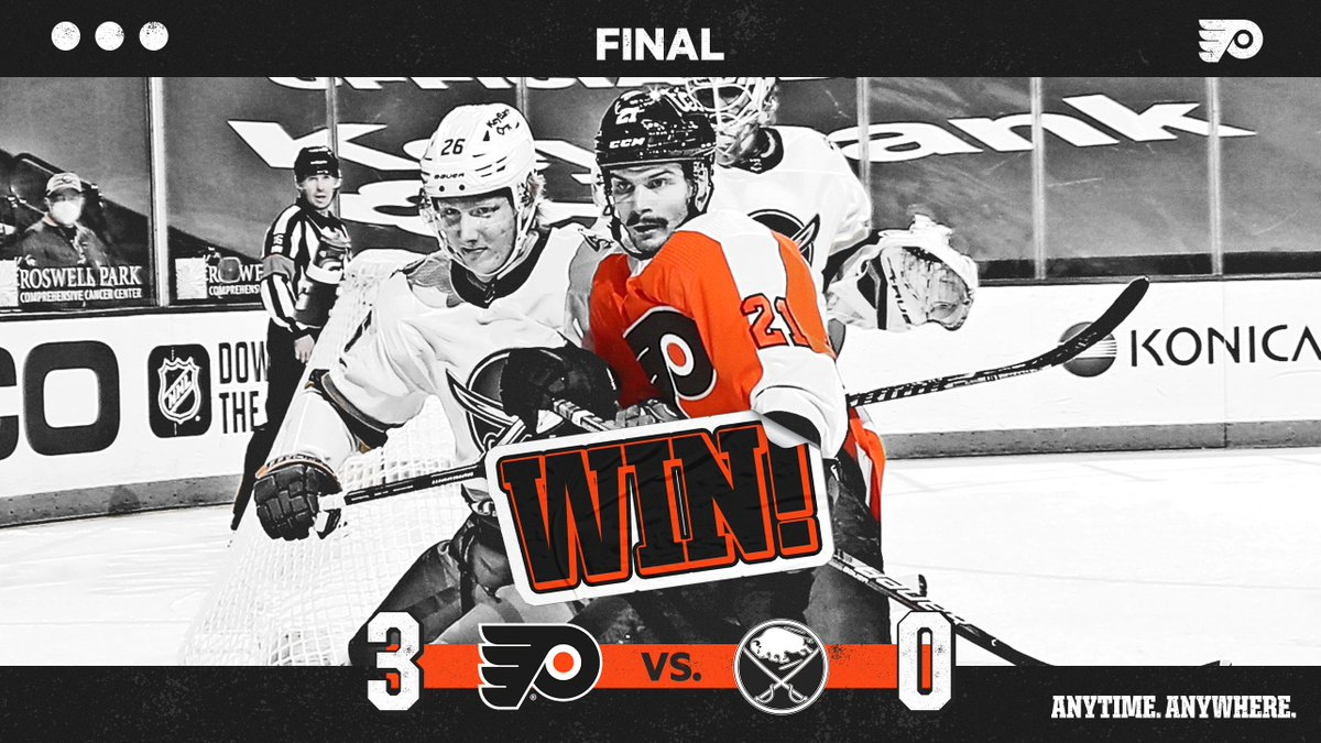 Replying to @NHLFlyers: 🔶 FLYERS WIN 🔶  A 3-0 blanking in Buffalo.  #AnytimeAnywhere   #PHIvsBUF