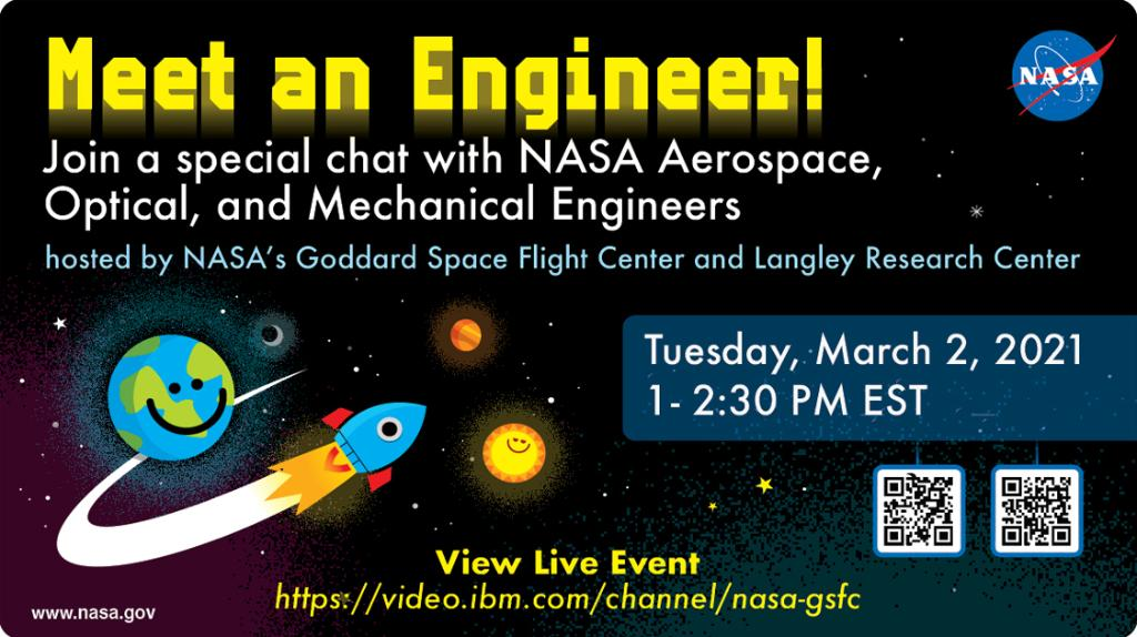 Want to know what is it like to be a NASA Engineer? 🚀   Join us on Tuesday, March 2nd at 1p.m. EST to chat with NASA's Langley engineers, Alan Sturgis and Jessica Friz along with two other @NASAGoddard engineers. Watch here: