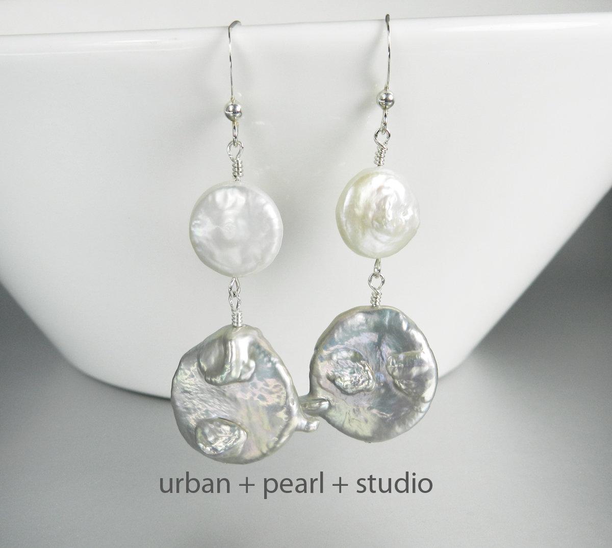 Gray Baroque Pearl Earrings | Grey Dangle Earrings Drops Silver Coin Pearl Earrings CPE33  #handmadejewelry #giftsforher #lovejewelry #pearlnecklace #etsy #handmade