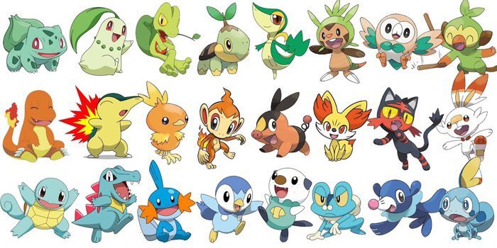 Next #PokémonDay question.  Factoring only the base form which group is your favorite set of starters (excluding Gen1)?  And which group of starters is the worst?  #Pokémon25