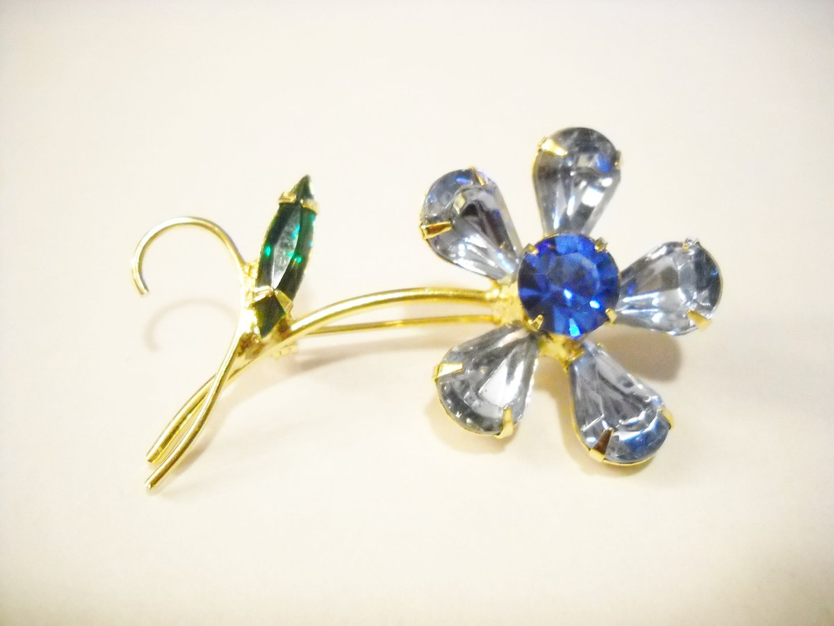 Excited to share the latest addition to my #etsy shop: Flower Brooch Vintage Brooch Blue Green Rhinestones Petite Multi Shaped Glass Facetted Rhinestones Floral Mid Century Woodland Festival  #blue #birthday #christmas #floral #green #unisexadult