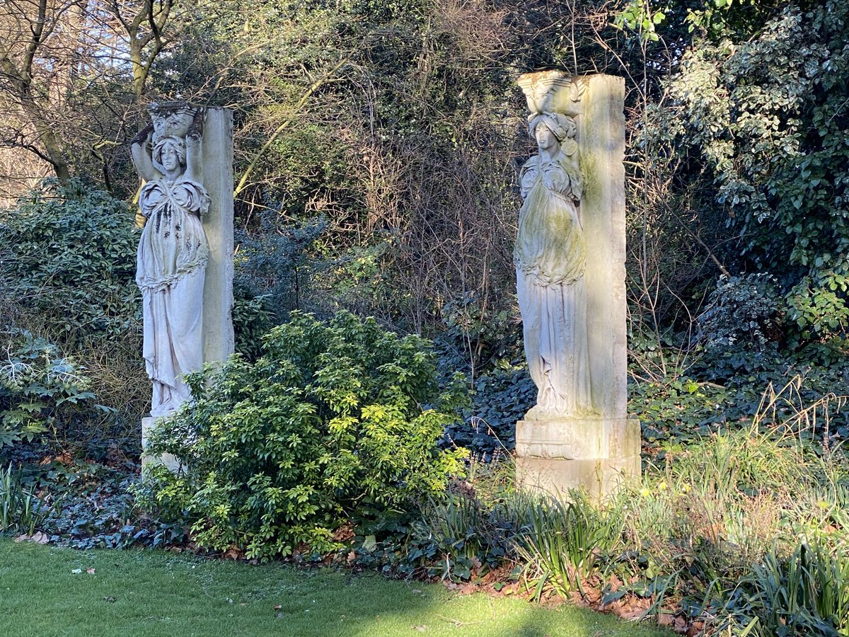 It's not often you find #dolphins and #caryatides in the same park #sculptures #SouthwarkPark #afternoonsunshine #Londonparks #communityspace #nature #wellbeing