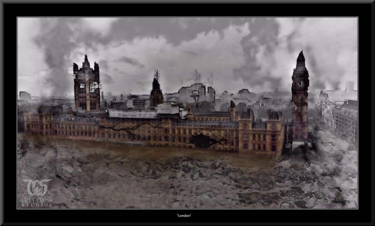 Parliament Building, London   There Is No Saving a World Which is Bent on Destroying Itself Grey Cross Studios #art #climatechange #climatechangeisreal #climateaction #ClimateChangeart #extremeweather #climatechangeaction #dystopia
