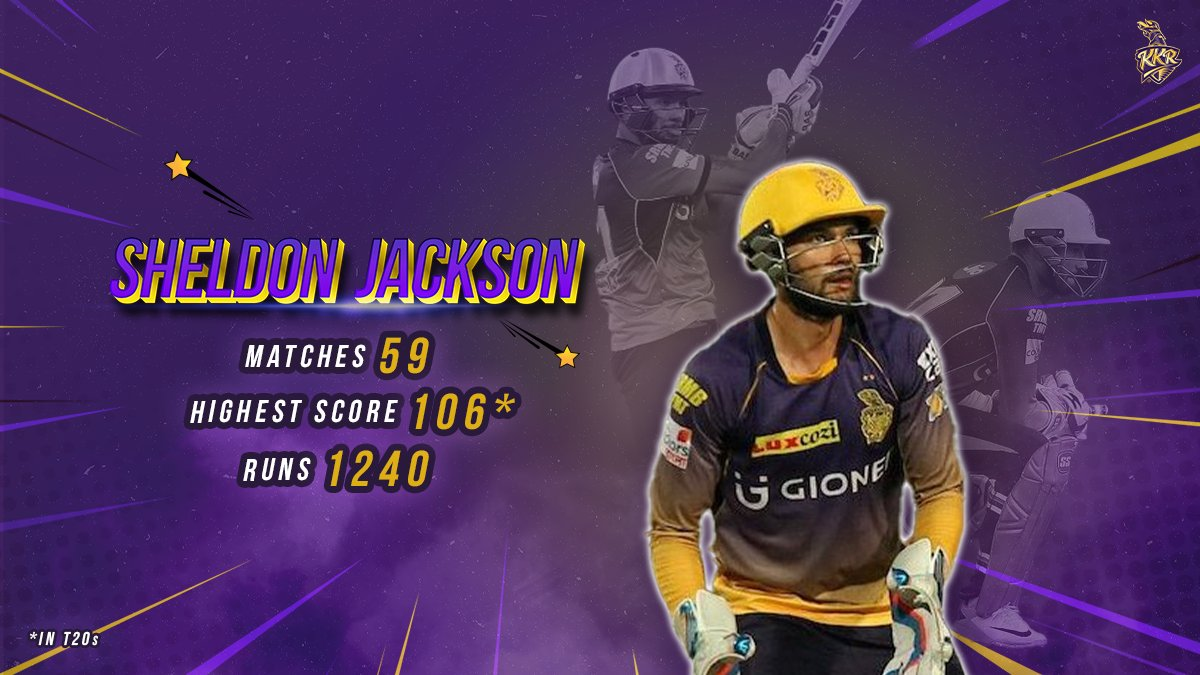 Former Knight ❌ Current Knight ✔️  Age is just a number for Sheldon 'Action' Jackson. He is back and all set in Purple and Gold for #IPL2021 💪🏻  @ShelJackson27 #KKR #HaiTaiyaar