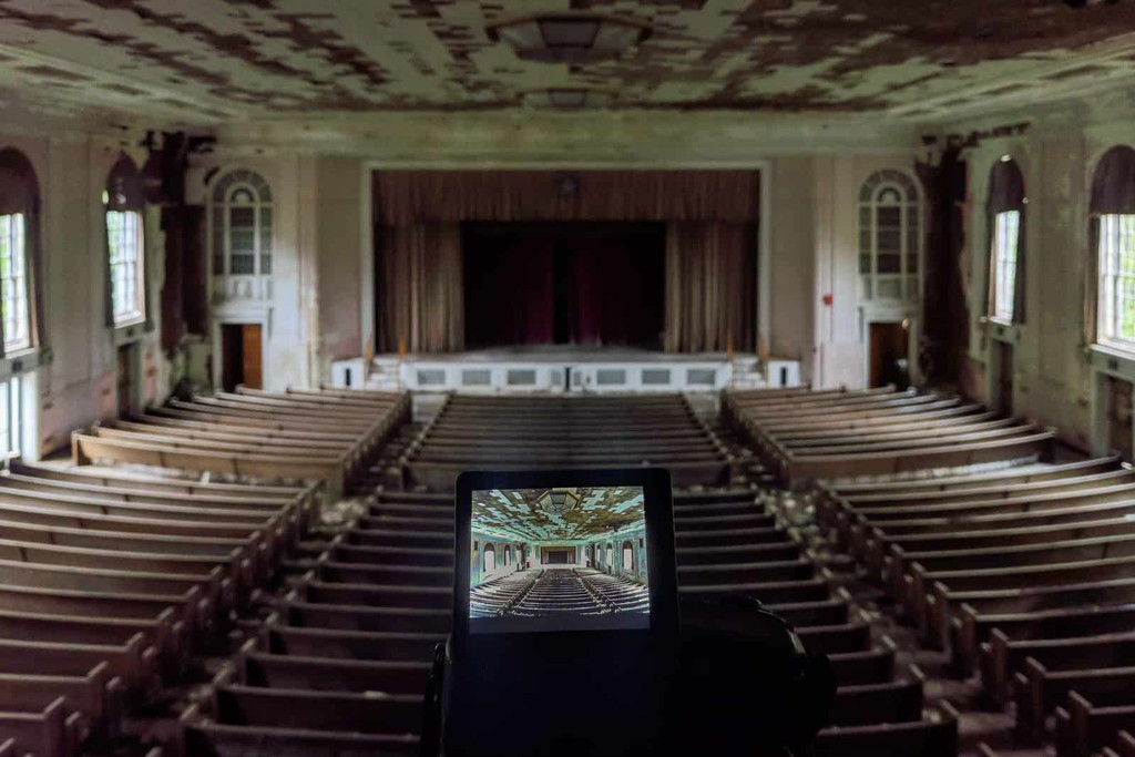 """""""One hospital had a beautifully decaying auditorium, which we visited during a stormy morning after a rather wet walk through the woods.""""  Read more 👉   #USA #Pennsylvania #History #Photooftheday #Urbex #Blogger #Abandoned #Photography"""