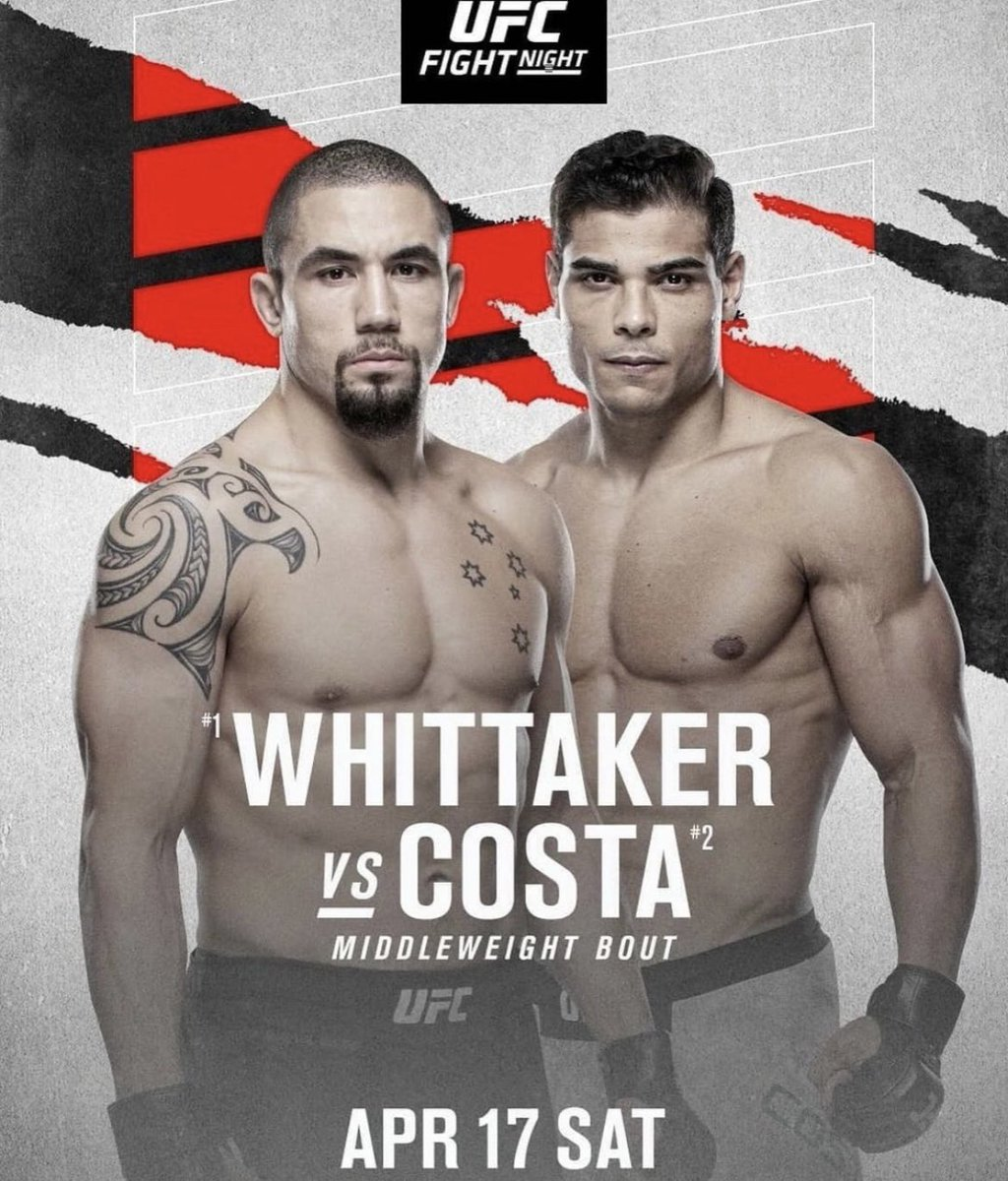 Replying to @LGS_MMA: Banger alert. Whittaker vs Costa. How do you seeing this one playing out?