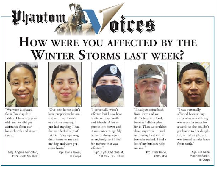 PHANTOM VOICES This week, the Fort Hood Sentinel team asked some #PhantomWarriors how they made it through last week's winter weather. How about you?  #FortHood #Winter #Storm #Resilience #Recovery #PeopleFirst