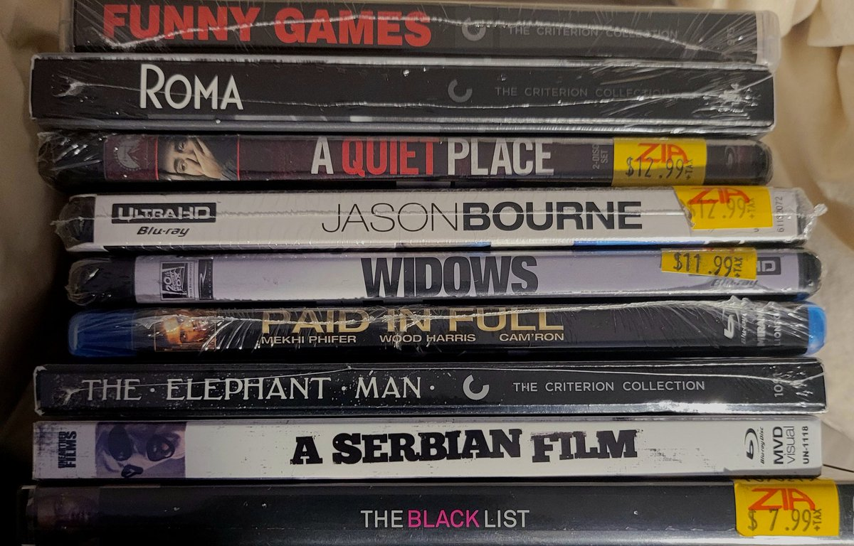 So this is the weekend's haul. The #criterion films are just absolutely insanely dope. #PaidinFull is probably my favorite film of all time. #TheBlackList deserves my attention. #Widows I have heard is great. #ASerbianFilm is a must. And I really enjoyed #AQuietPlace. #Cinema