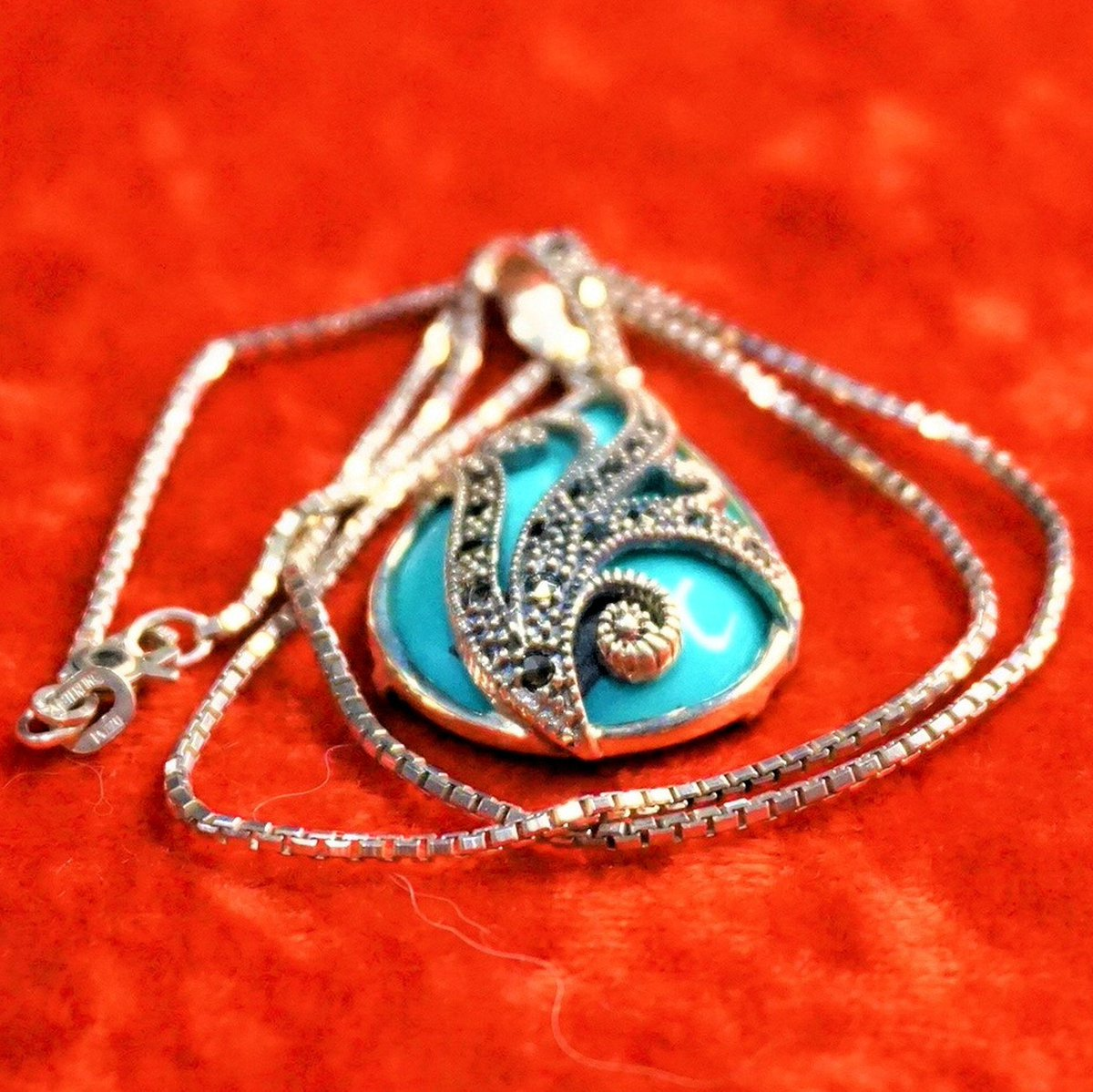 Excited to share the latest addition to my #etsy shop: Sterling Silver & Turquoise Pendant And Chain Necklace, Vintage Rare Find Unique Collectible Quality Hallmarked Fine Jewelry, Gift For Her.  #blue #box #gold #no #turquoise #women #stone #int