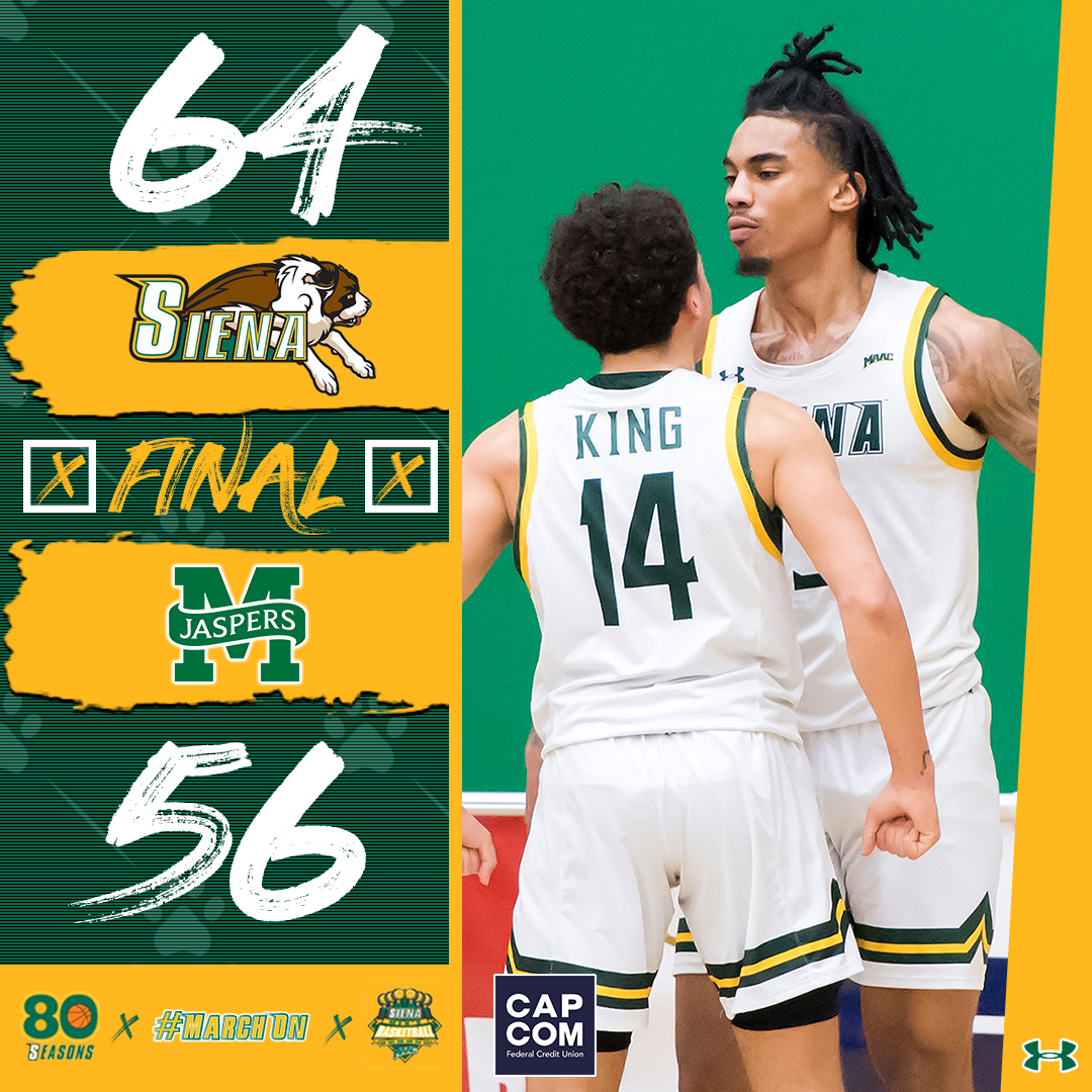 🧹🧹 @_BigshotManny_ pours in a career-high 2⃣5⃣ points as the #SienaSaints complete the weekend sweep of Manhattan to move into sole possession of first place in the @MAACHoops Standings❗️ #MarchOn | #MAACHoops | #NCAAM | #Attack | #Finish | #EAT
