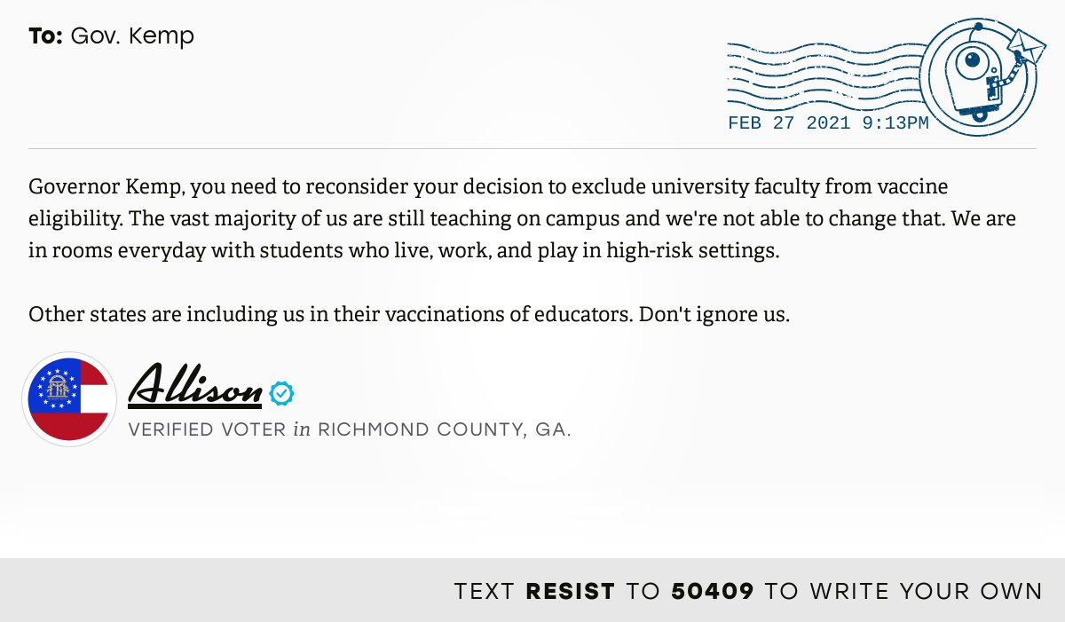 📬 I delivered this ✉️ from Allison, a 🗳 verified voter in Augusta, Ga., to @govkemp  #GApol  📝 Write your own:
