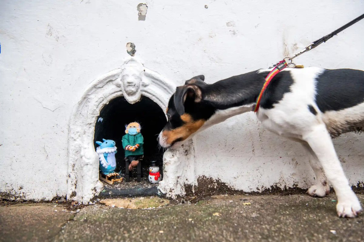 """""""Beth Walk has been cheering people up during all the lockdowns by creating tiny scenes in an old boot scraper in ... S London. She's added Bernie Sanders and his mittens. Marmite, the jack russell, was keen to have a nose"""""""