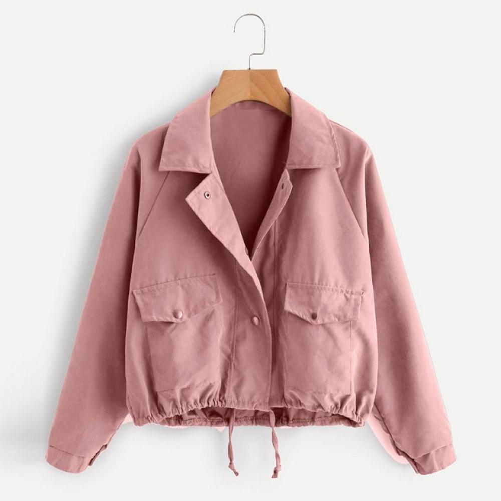 Women Autumn Fashion Short jacket Pink Button Coat Pocket Polyester Jacket Cardigan TW Women fashion Coat Could dropshopping #28  #fashion #tech #home #lifestyle