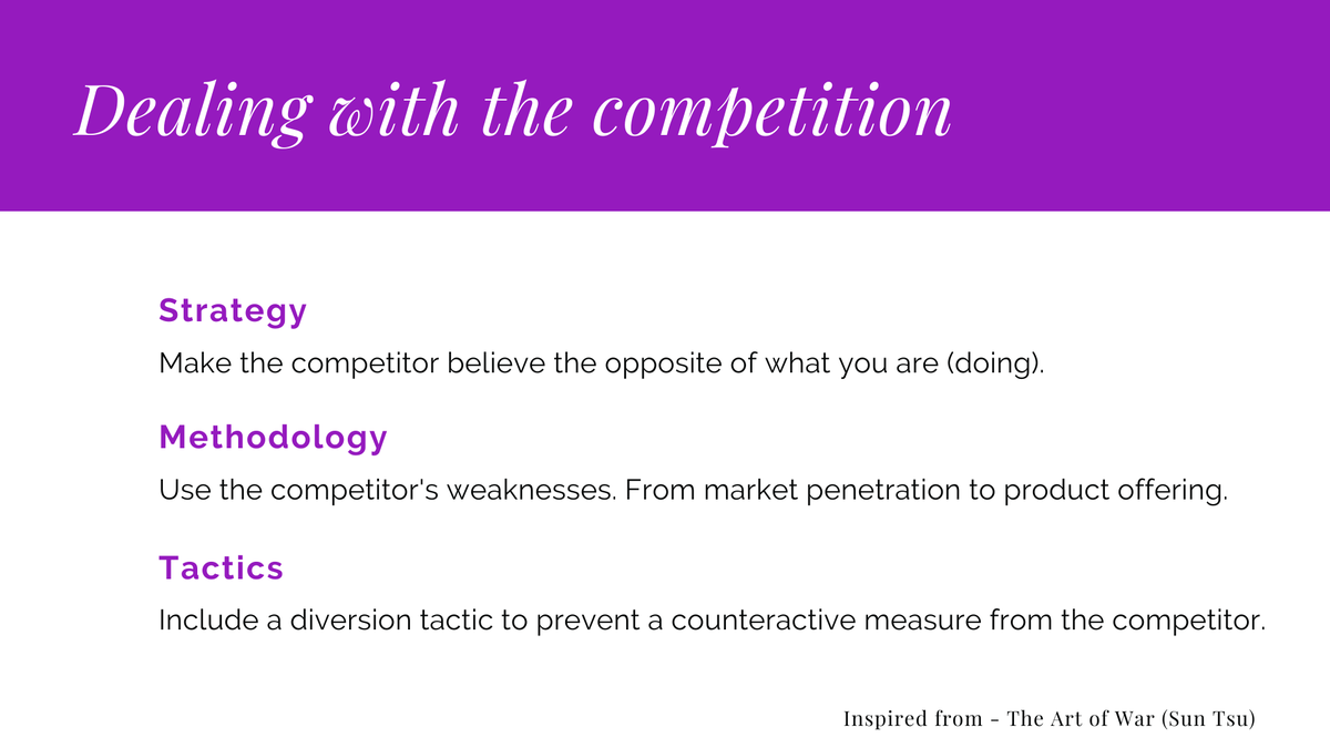 The best examples of strategic thinking come from military leaders such as Julius Caesar and Napoleon. Here are three military lessons applied to #marketing  - Keep your strategy hidden - Identify the competitor's weaknesses - Include a diversion tactic