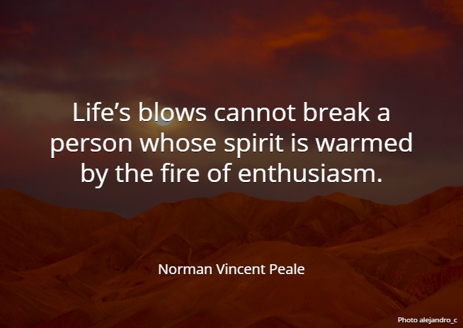 Life's blows cannot break a person whose spirit... - Norman Vincent Peale #quote #WednesdayWisdom