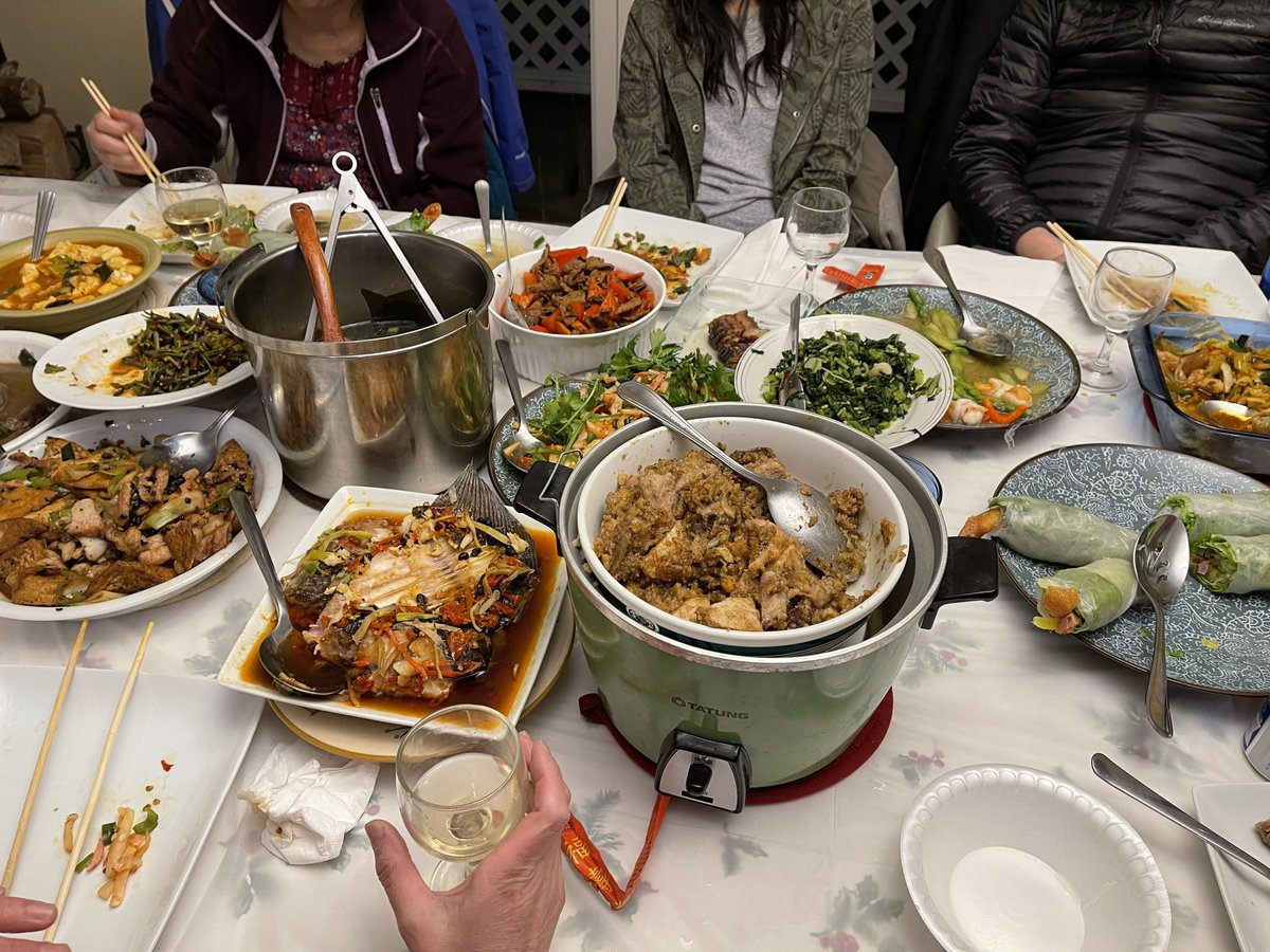 Chinese New Year celebrations last 15 days. Friday night was the last reunion meal we could have together as families. Since I don't have families in NH except my husband, so we had our reunion dinner with some friends. It was a delicious dinner. #ChineseNewYear