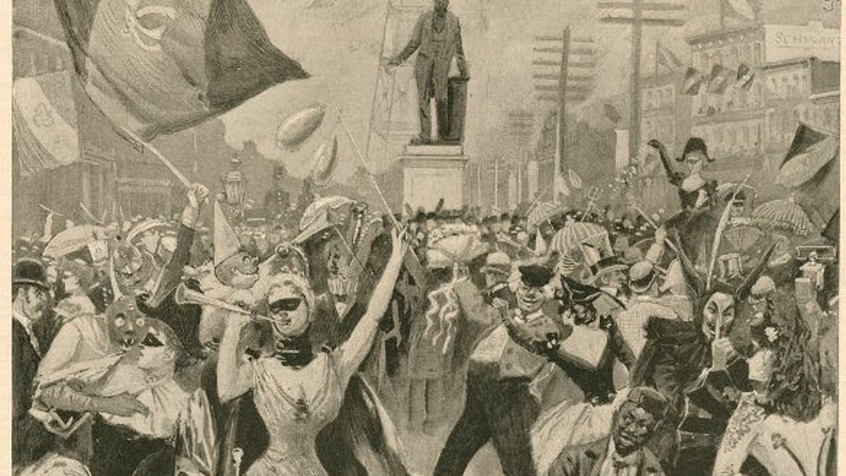 THIS DAY IN #History, February 27, 1827: 👑🎭 Masked and costumed students dance through the streets of #NewOrleans, Louisiana, marking the first of the city's traditional #MardiGras celebrations. #FatTuesday #OnThisDay #OTD