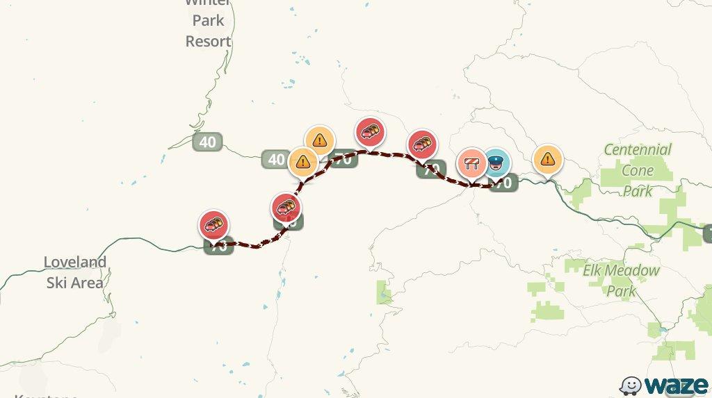 Avoid I-70 E near Bakerville #DENTraffic. You'll be stuck 20m longer than usual https://t.co/56x2q6zebW https://t.co/TOycTPdPkJ