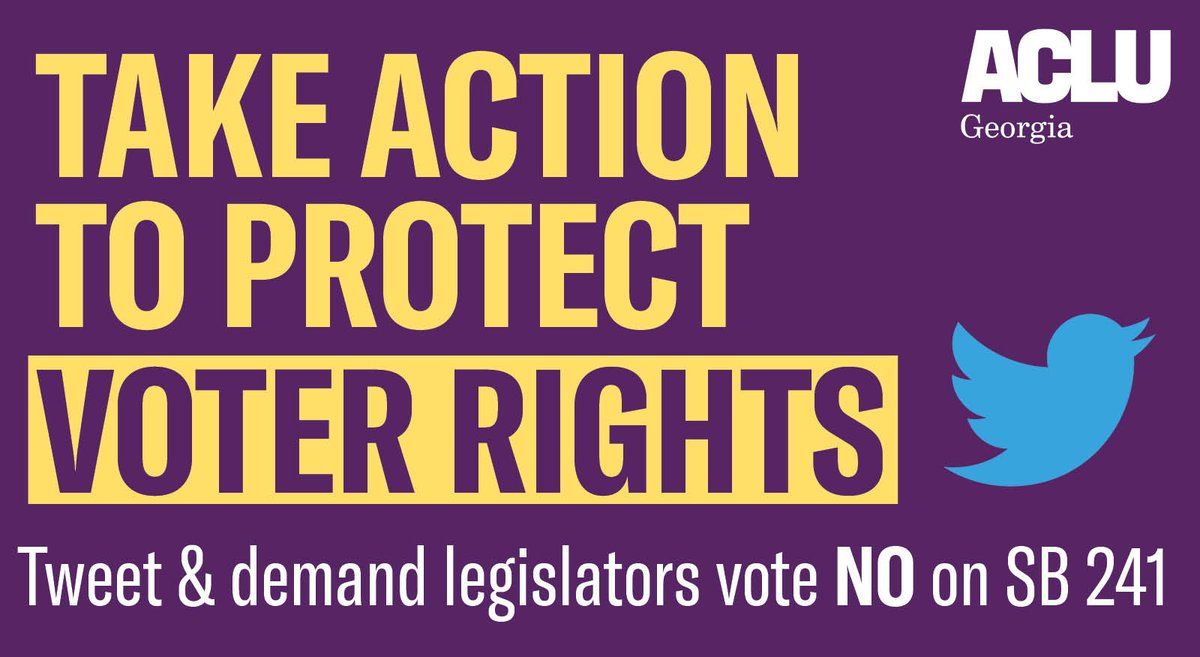 Tell legislators to vote NO on SB241, a bill that would you obtaining a government permission slip to vote absentee. This is WRONG.  Tweet legislators now and demand they VOTE NO on #SB241 to protect voter rights. #gapol   Click here to tweet!