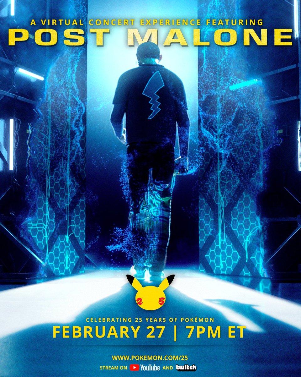 El concierto de Pokémon × Post Malone empezará en 20 minutos.  Link de la transmisión: